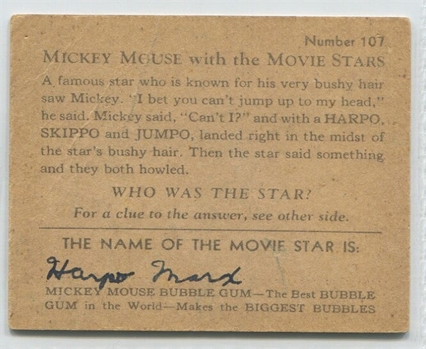 R90 Mickey Mouse and the Movie Stars #107 - Harpo Marx