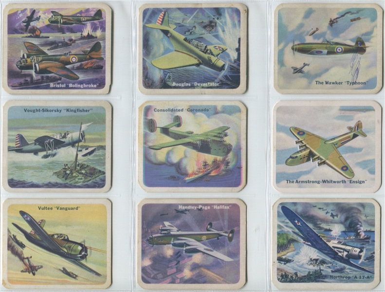 V407 Cracker Jack United Nations Battle Planes Lot of (39) Cards from all three backs