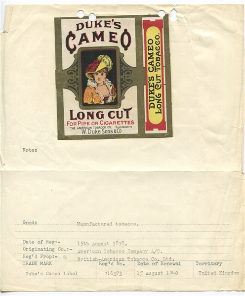Duke's Cameo Cigarette Packaging from notebook