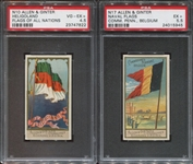 Pair of Allen & Ginter PSA-Graded singles from N10 Flags and N17 Naval Flags