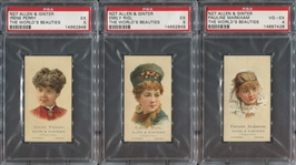 N27 Allen & Ginter Worlds Beauties (2nd Series) Lot of (6) PSA-Graded Cards