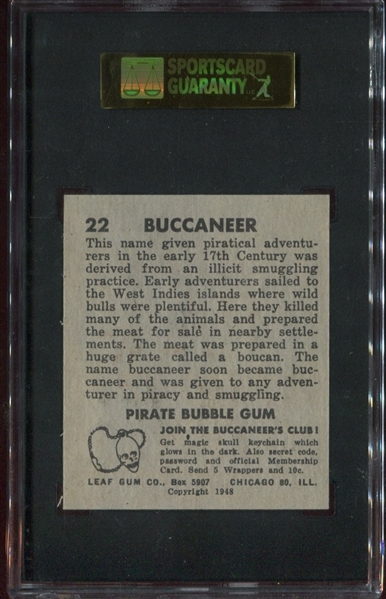 1948 Leaf Pirates #22 Buccaneer SGC84