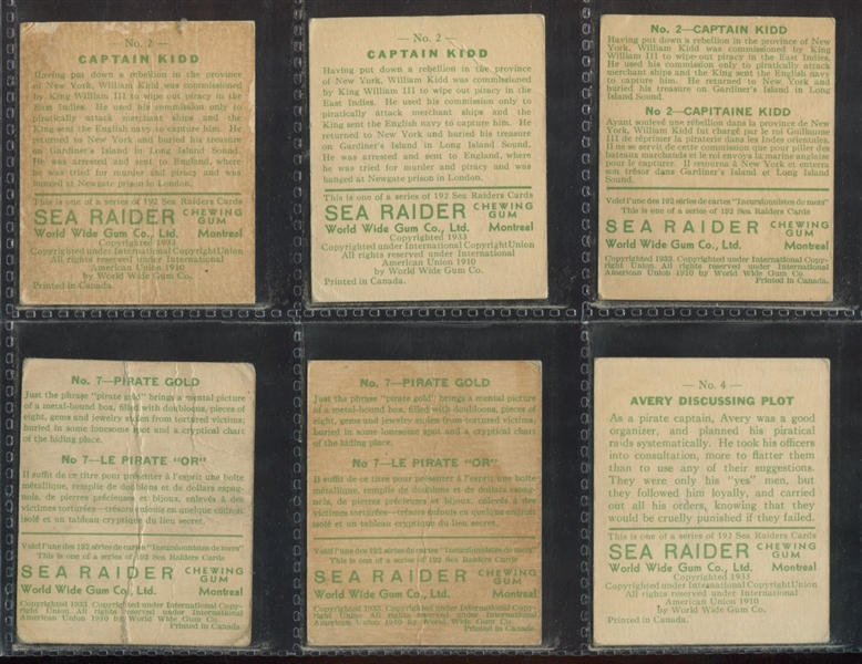 V359 World Wide Gum Sea Raiders lot of (27) Different - Type A and B