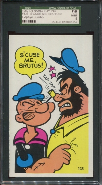 1962 Dynamic Toy Inc. Popeye Jumbo Card #135 S'CUSE ME BRUTUS! Graded SGC 96 MINT 9