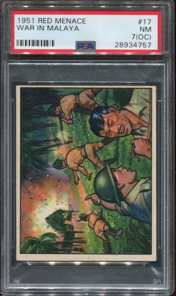 1951 Bowman Red Menace #17 War in Malaya PSA7 NM(OC)