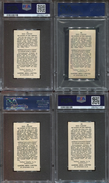 V118 Ganong Gum Big Chief lot of (4) PSA-Graded Cards