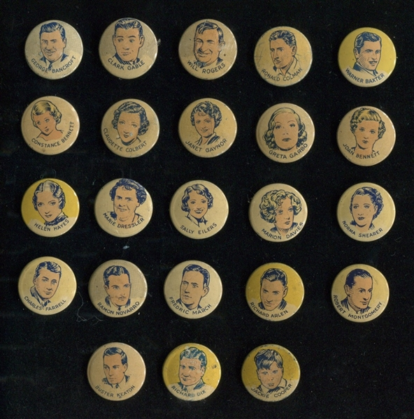 1930's Button Gum / Cracker Jack Pinbacks Near Complete Set (23/25) Actors & Actresses