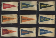 S29 Contentnea Tobacco College Pennants Silk Very Scarce Near Set (51/52) Plus (3) Variations