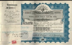 Fantastic Goudey Gum 1921 Stock Certificate signed by Goudey & Delong