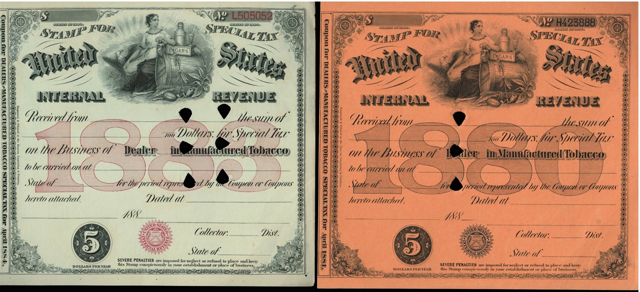 Interesting 1880's IRS Tobacco Tax Multi-Page Booklet