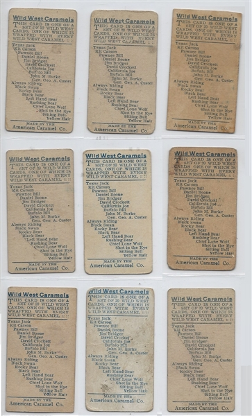 E49 American Caramel Wild West Caramels Complete set of (20) Cards