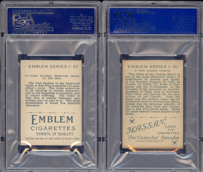 T56 Emblems Pair of PSA-Graded Cards