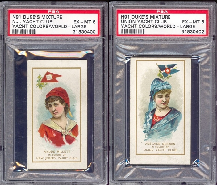 N91 Duke's Mixture Yacht Colors of the World Pair of PSA6 EX Graded Cards