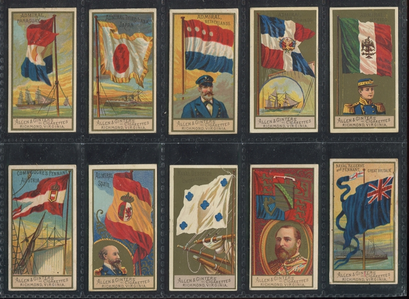 N17 Allen & Ginter Naval Flags Lot of (10) Cards