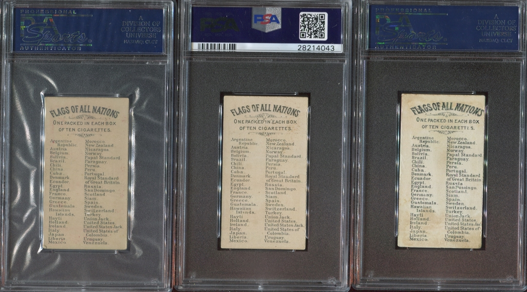 N9 Allen & Ginter Flags of All Nations Lot of (7) PSA-Graded Cards