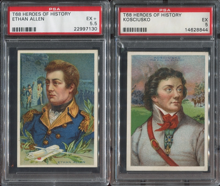 T68 Heroes of History Lot of (5) PSA-Graded Cards