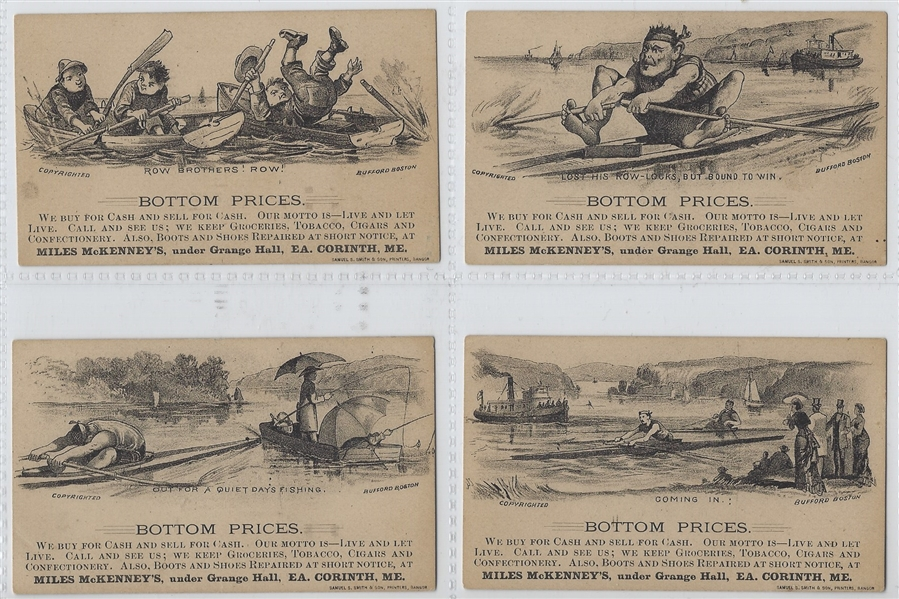 Mile's McKenney's Boating Scenes Trade Card Lot of (4)