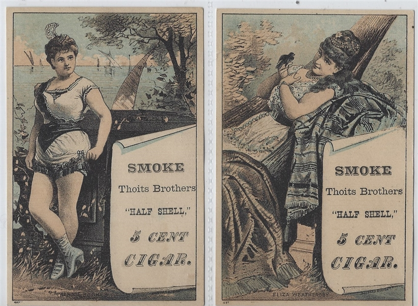 Thoits Brothers Girl with Scroll Half Shell Cigar Trade Card lot of (6)