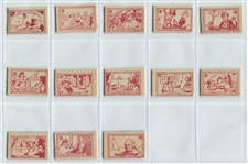 1950s Bazooka Gum Famous Americans Stamps Near Set (13/18) Cut from Trays