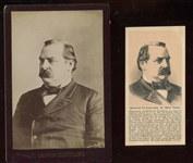 Grover Cleveland Cabinet Card and Hoods Sarsparilla Ad Card Pair