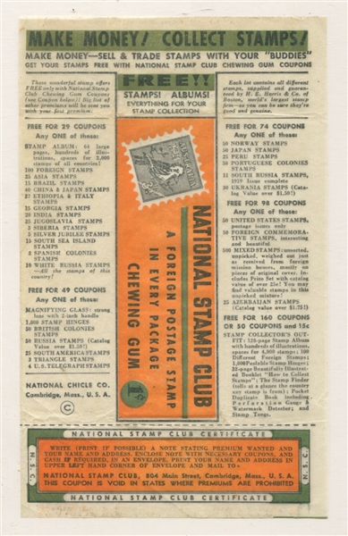 National Chicle National Stamp Club One-Cent Wrapper
