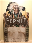 Incredible Permit Tobacco Die Cut American Indian Oversized Advertising Piece
