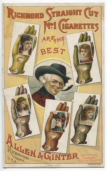 N-UNC Allen & Ginter Gloved Hand Complete Set of (25) Cards, Proof Sheet and Trade Card