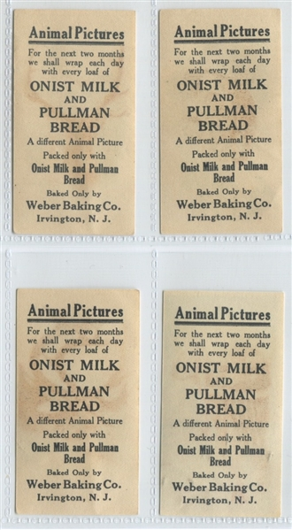 D8 Weber Baking Company Animal Pictures Lot of (4) Cards