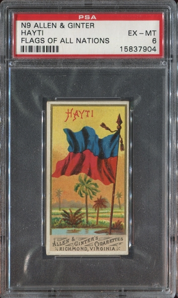 N9 Allen & Ginter Flags of All Nations - Hayti PSA6 EXMT