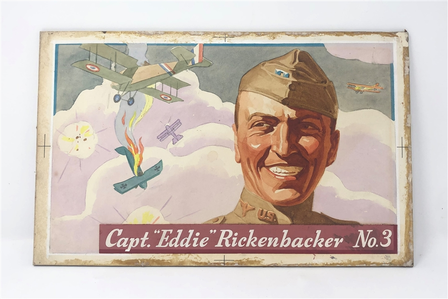 ORIGINAL ARTWORK for Heinz Rice Flakes Modern Aviators #3 Eddie Rickenbacker
